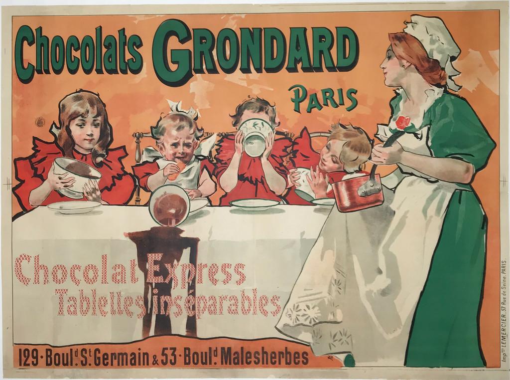 Chocolats Grondard Paris original vintage poster French food culinary advertisement.