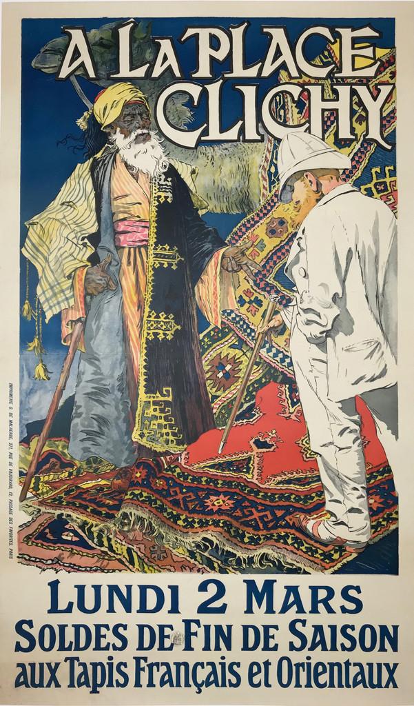 A La Place Clichy Soldes De Fin De Saison aux Tapis Francais et Orientaux original vintage poster