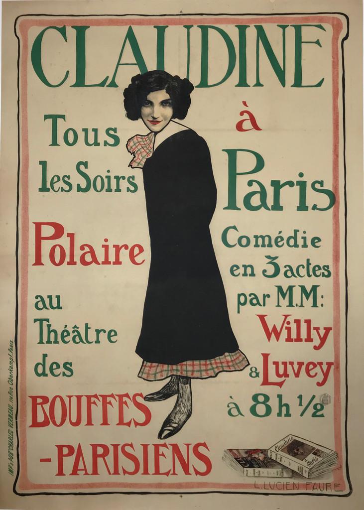 Claudine a Paris Comedie original vintage poster by Lucien Faure