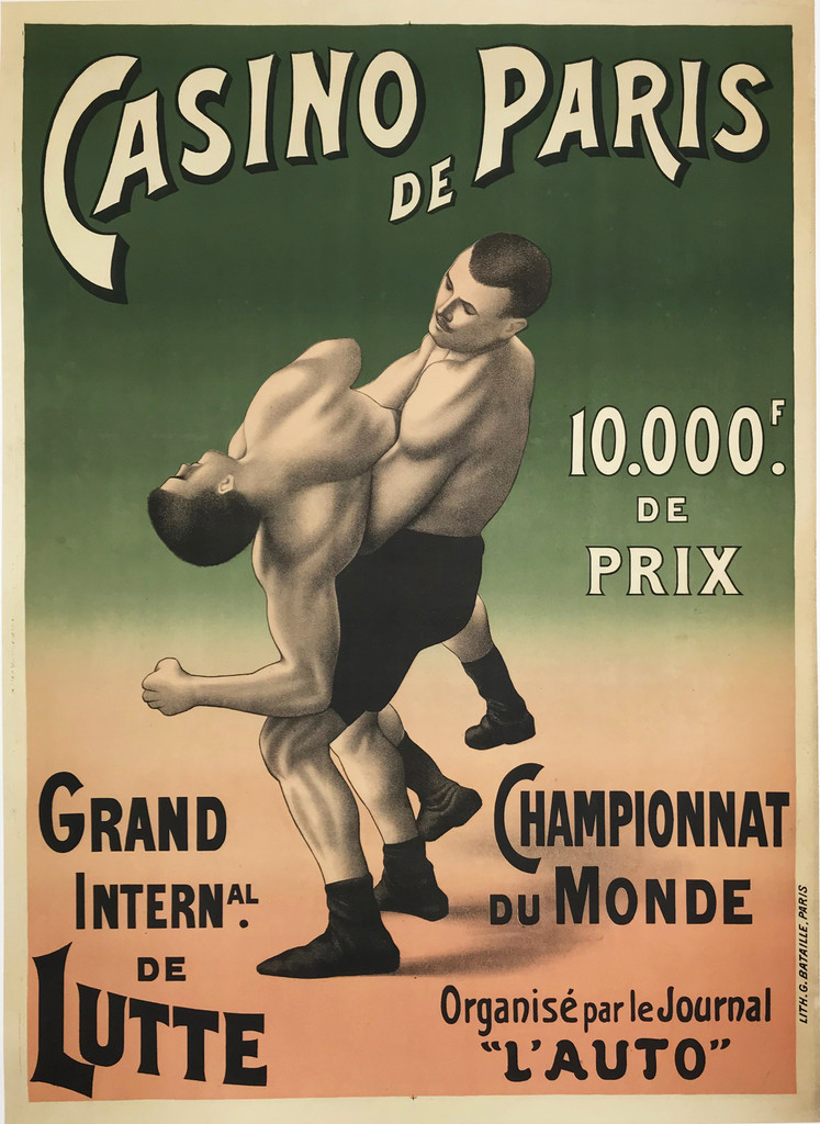 Casino De Paris Championnat Du Monde Grand International De Lutte original vintage poster