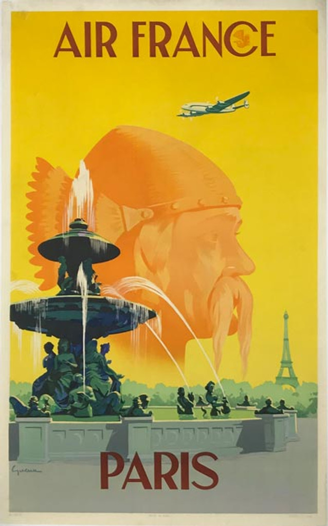 Original French 1951 Air France Paris Poster