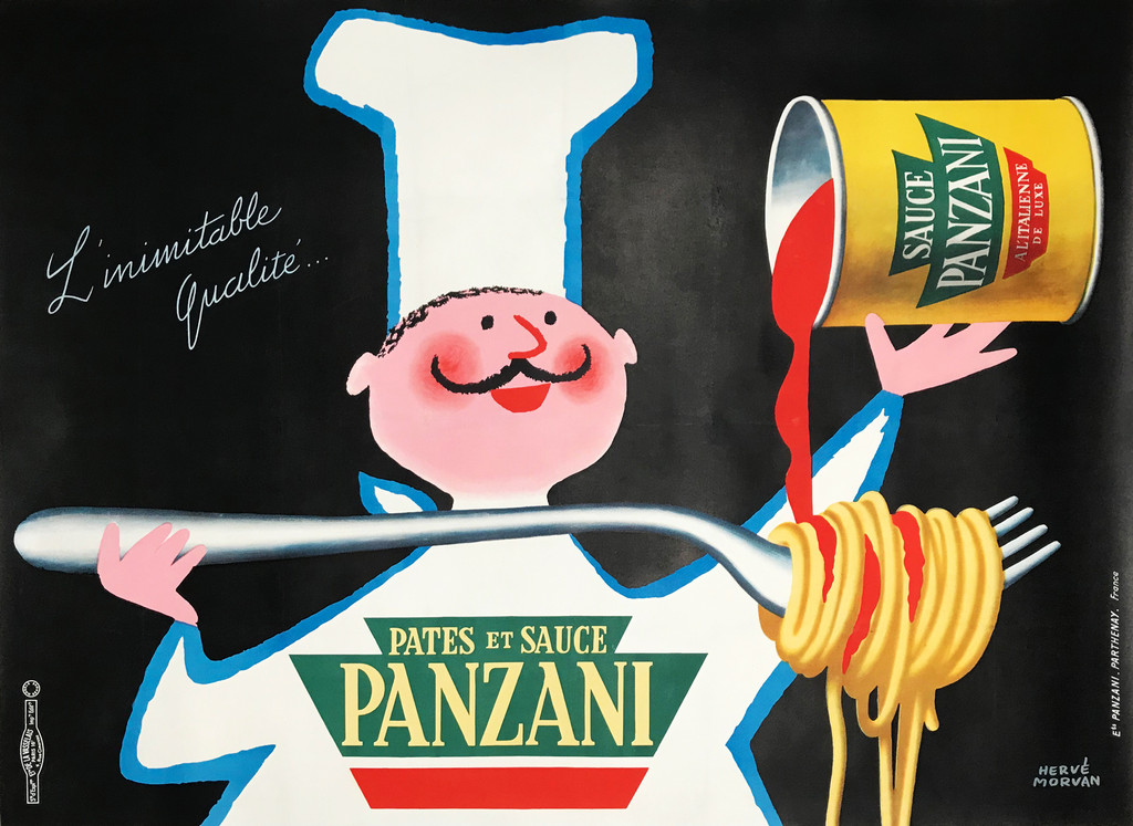Panzani Pates Et Sauce original vintage poster by Harve Morvan. French pasta sauce advertisement