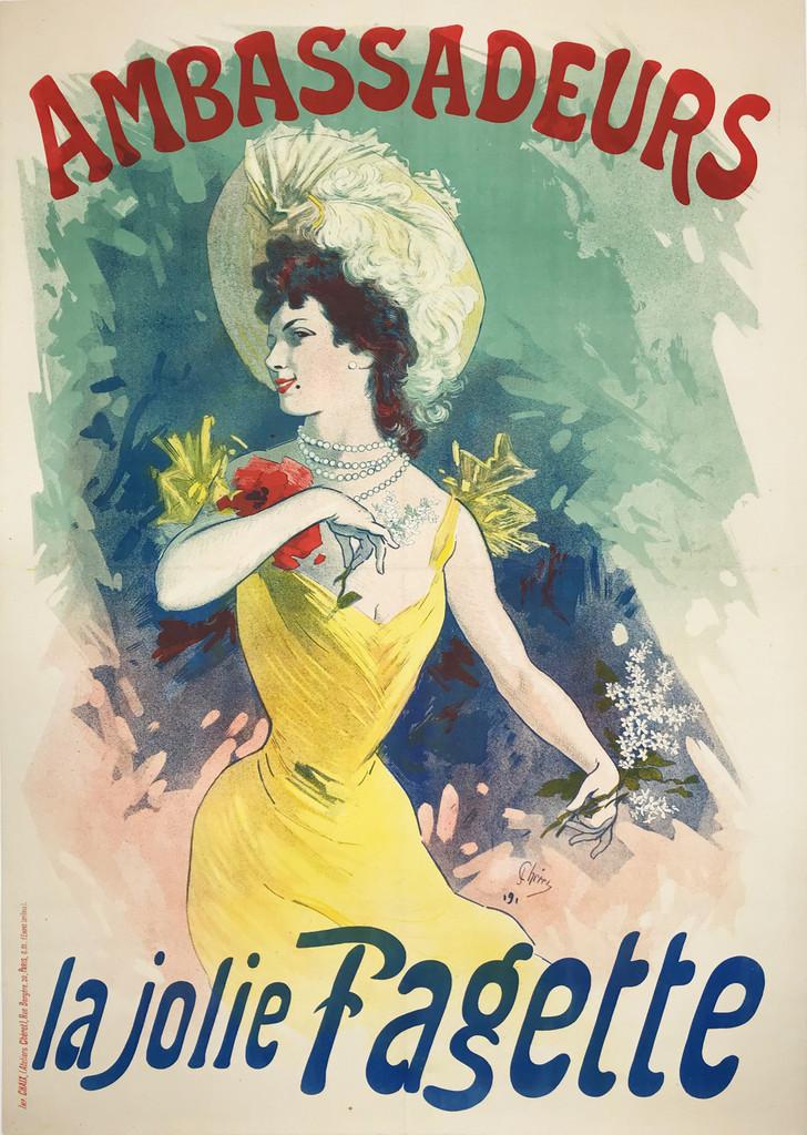 Ambassadeurs la jolie Fagette original vintage poster by Jules Cheret