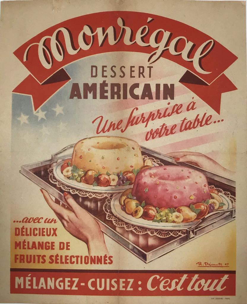 Dessert Americain original vintage food advertisement antique poster.