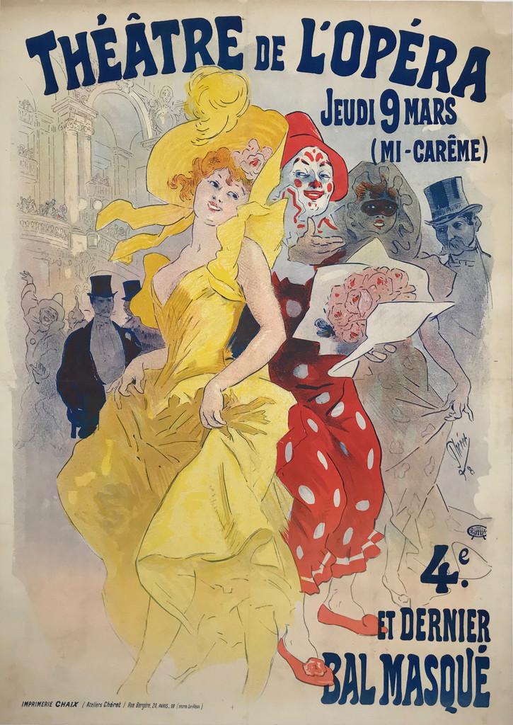 Theatre De L'Opera Bal Masque Original 1898 French Vintage Poster by Jules Cheret