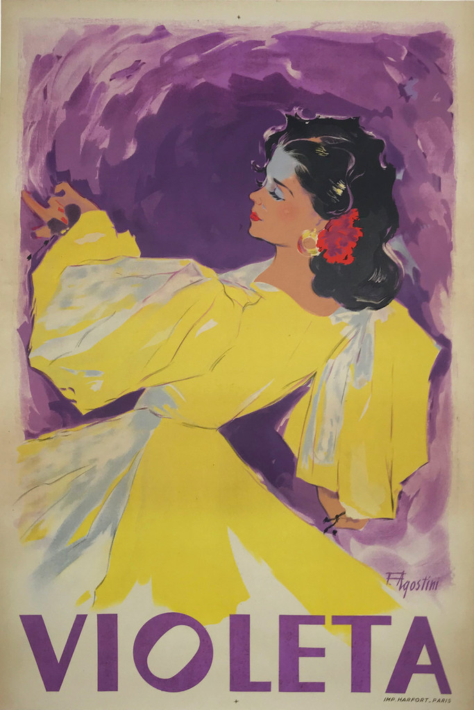 Violeta Chanteuse Original 1930's French Vintage Poster by F. Agostini