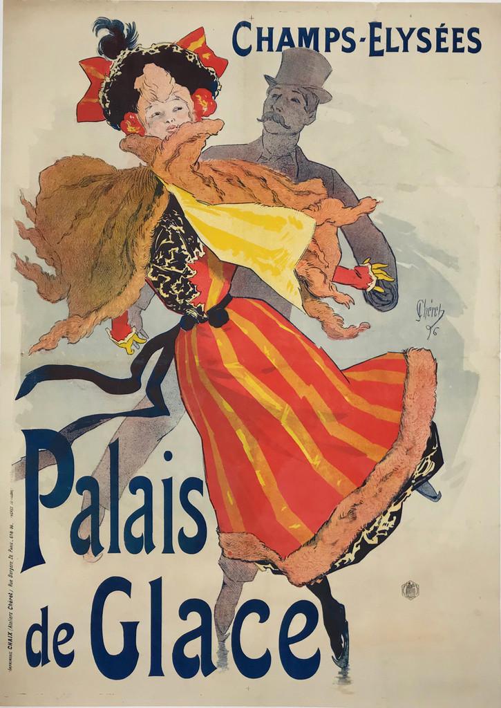 Palais de Glace Champs - Elysees Original French 1896 Vintage Poster by Jules Cheret.