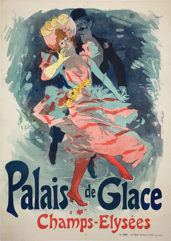 Palais de Glace Champs - Elysees Original 1900 Vintage Advertisement Lithograph Poster by Jules Cheret.