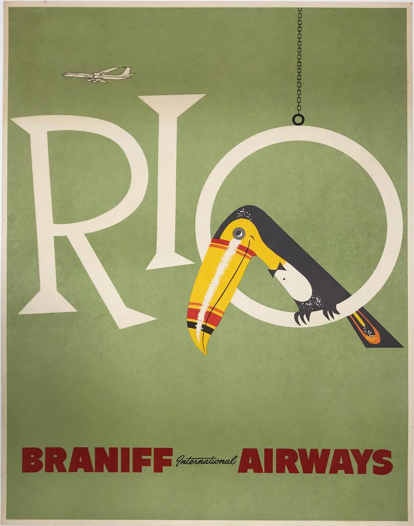 Rio Braniff International Airways Original 1960 Travel Poster