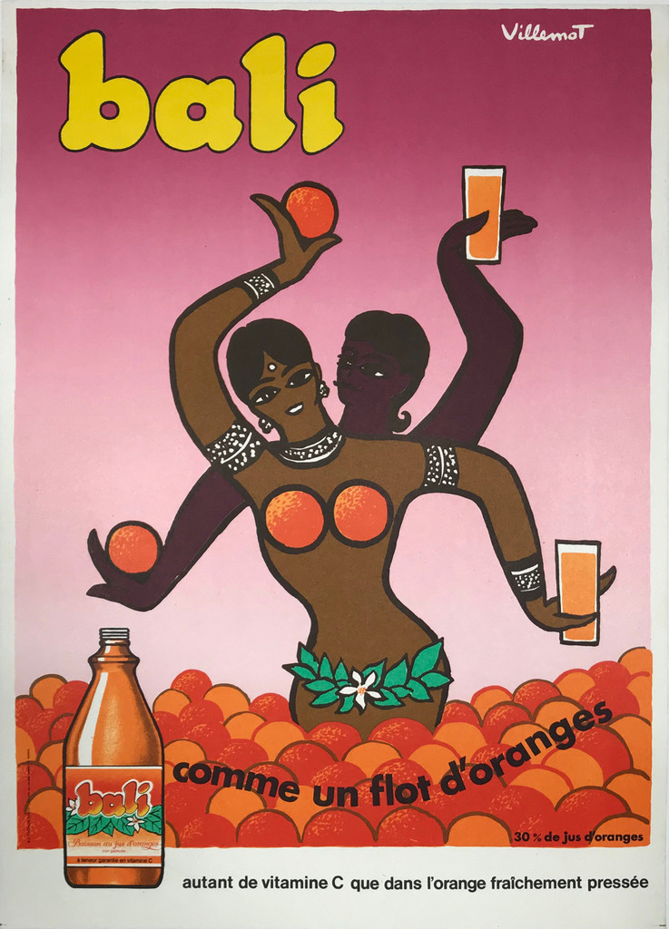 Bali Comme un Flot D'Oranges French Original 1978 Poster by Bernard Villemot.