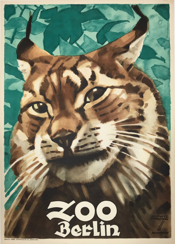 ZOO Berlin Original 1930 German Advertisement Poster by Ludwig Hohlwein.