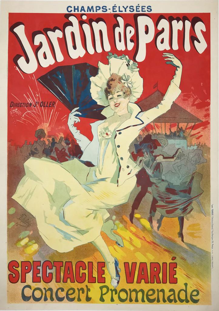Jardin De Paris Spectacle Varie Original 1890 Vintage Stone Lithograph Advertisement Poster by Jules Cheret.