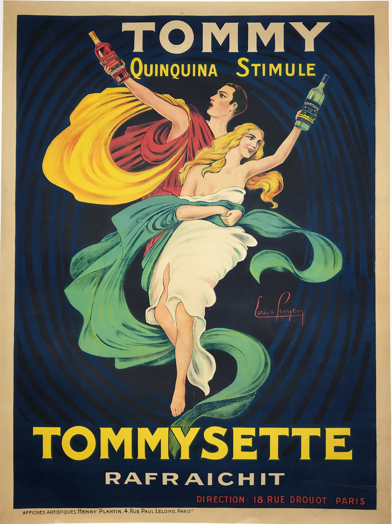 Tommy Quinquina Stimule original French wine and spirits vintage poster.