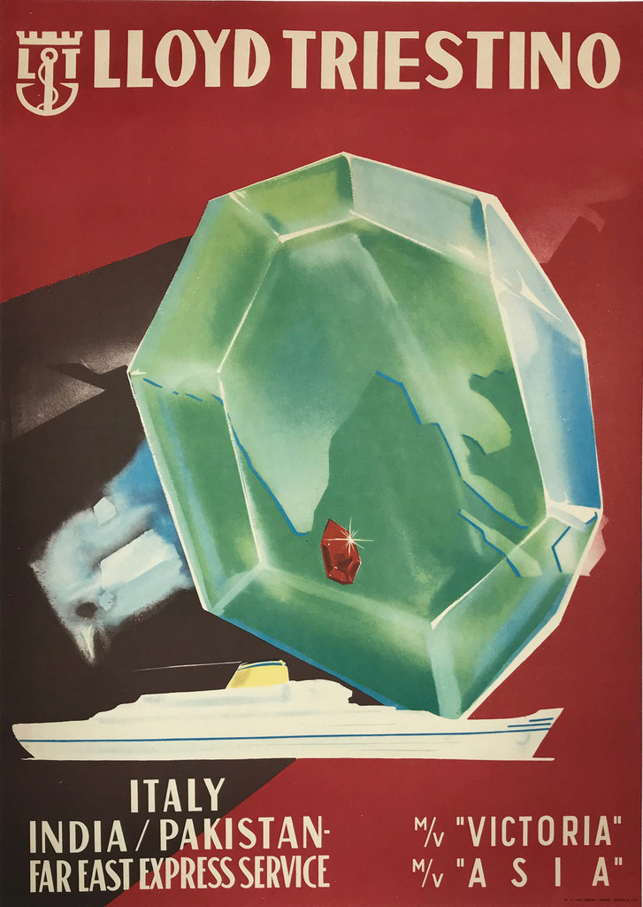 Lloyd Triestino Original 1958 Italian Travel Poster. Italy / India / Pakistan - Far East Express Service.