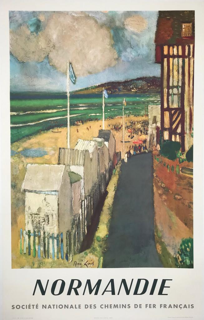 Normandie Chemin De Fer Francais Original 1961 French Travel Poster by Rene Genis.