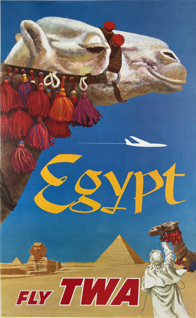 Egypt Fly TWA by David Klein Original 1960 Vintage American Passenger Air line Travel Advertisement Poster Linen Backed.