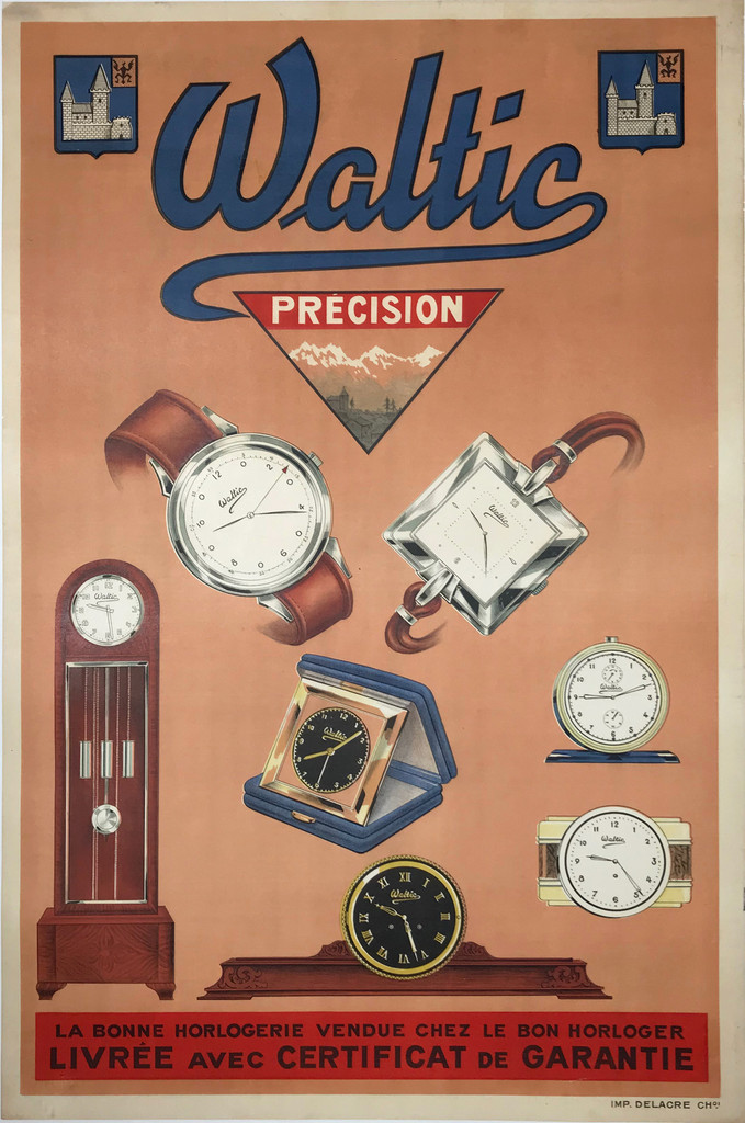 Waltic Precision Horloger Original French 1930 Vintage Watch Advertisement Lithograph Poster.