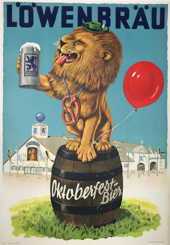 Lowenbrau Octoberfest Bier Original Vintage 1950 German Beer Advertisement Lithograph Poster.
