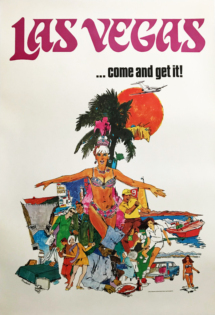 Las Vegas .. Come and Get It  Original 1970 Vintage American Travel Advertisement Poster by Tanenbaum.