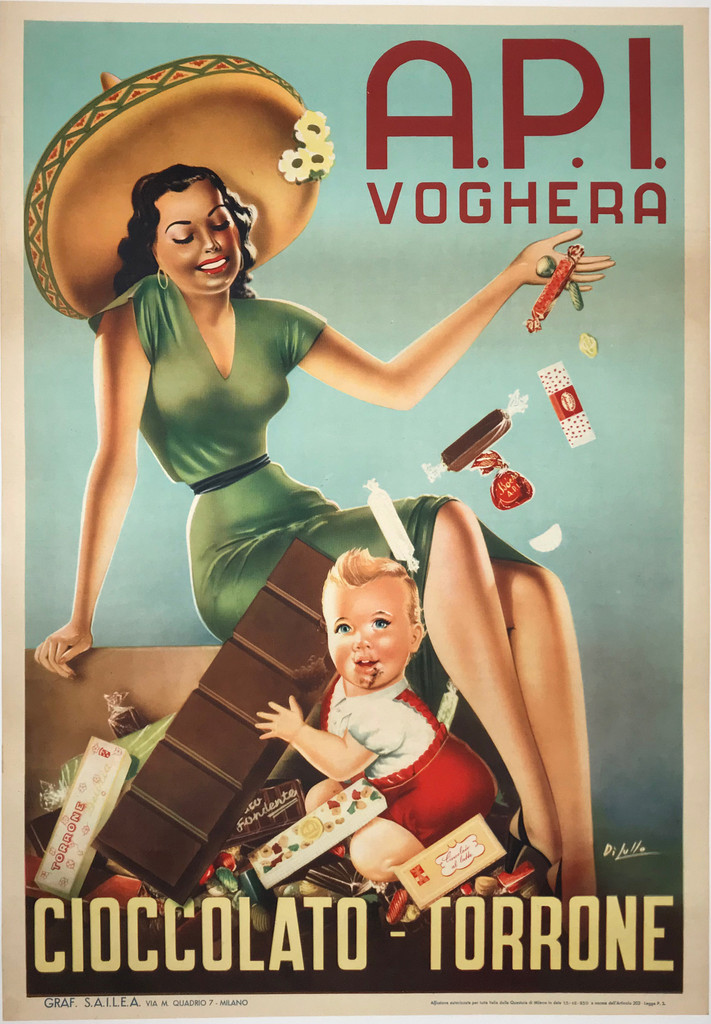 A.P.I. Voghera Cioccolato - Torrone Original 1950 Vintage Italian Offset Plate Lithograph Advertisement Poster by Dilullo.  Shows a woman in green dress and baby holding large chocolate bar with candies falling around him.