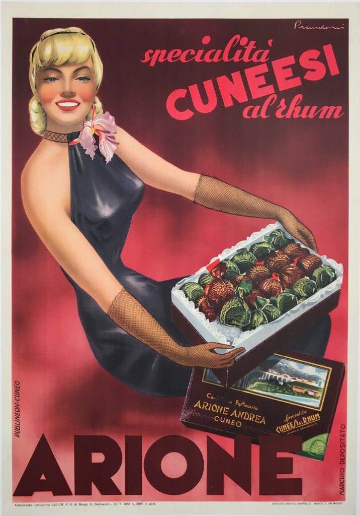 Arione Andrea Specialita Cuneesi Al Rhum 1951 Original Vintage Italian Poster Offset Plate Lithograph Chocolate Advertisement.