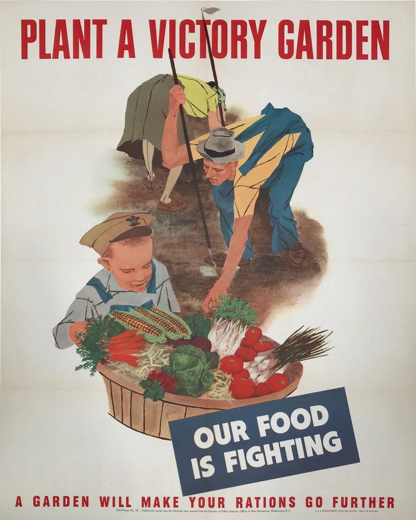 Plant A Victory Garden Our Food Is Fighting Original American 1943 poster.