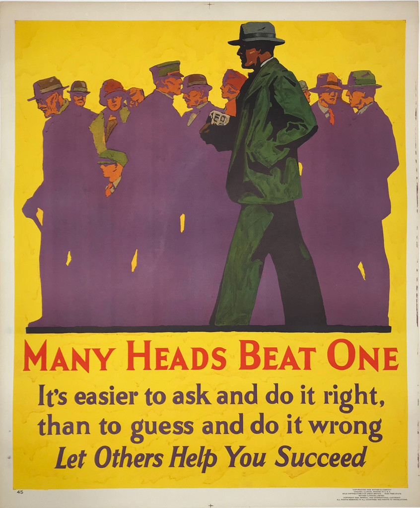 Many Heads Beat One original vintage poster American 1929 Mather work incentive series