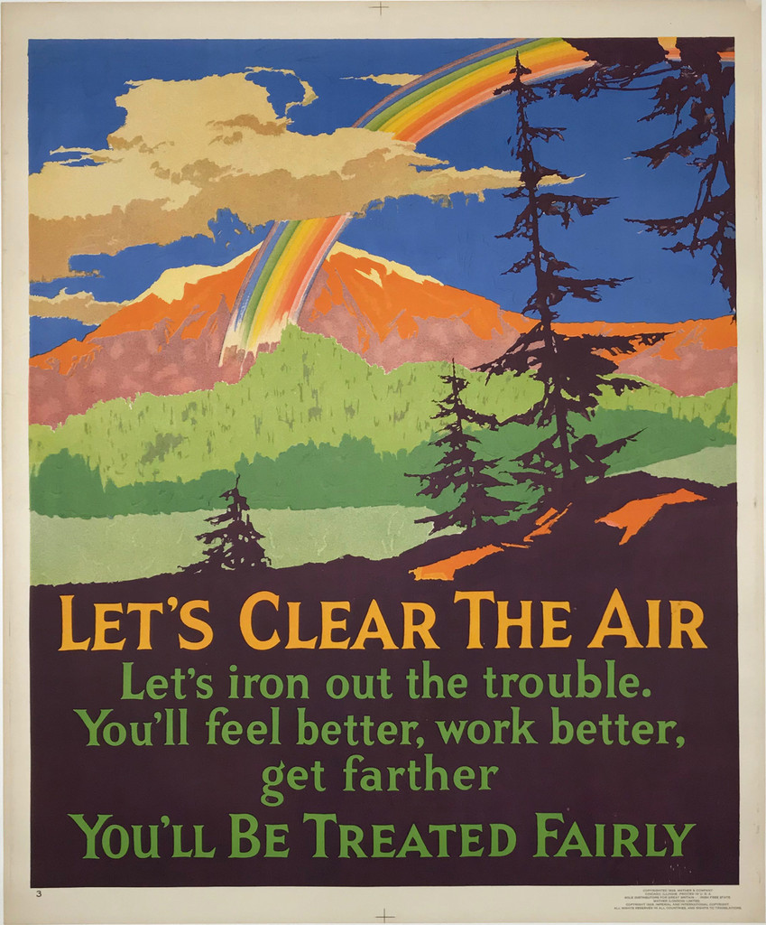Let's Clear The Air original vintage poster American 1929 Mather work incentive series