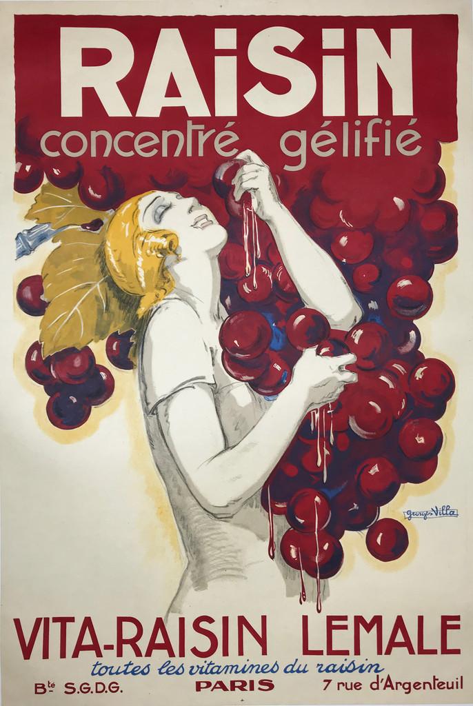 Raisin Concentre Gelifie Vita- Raisin Lamale original vintage poster by Georges Villa