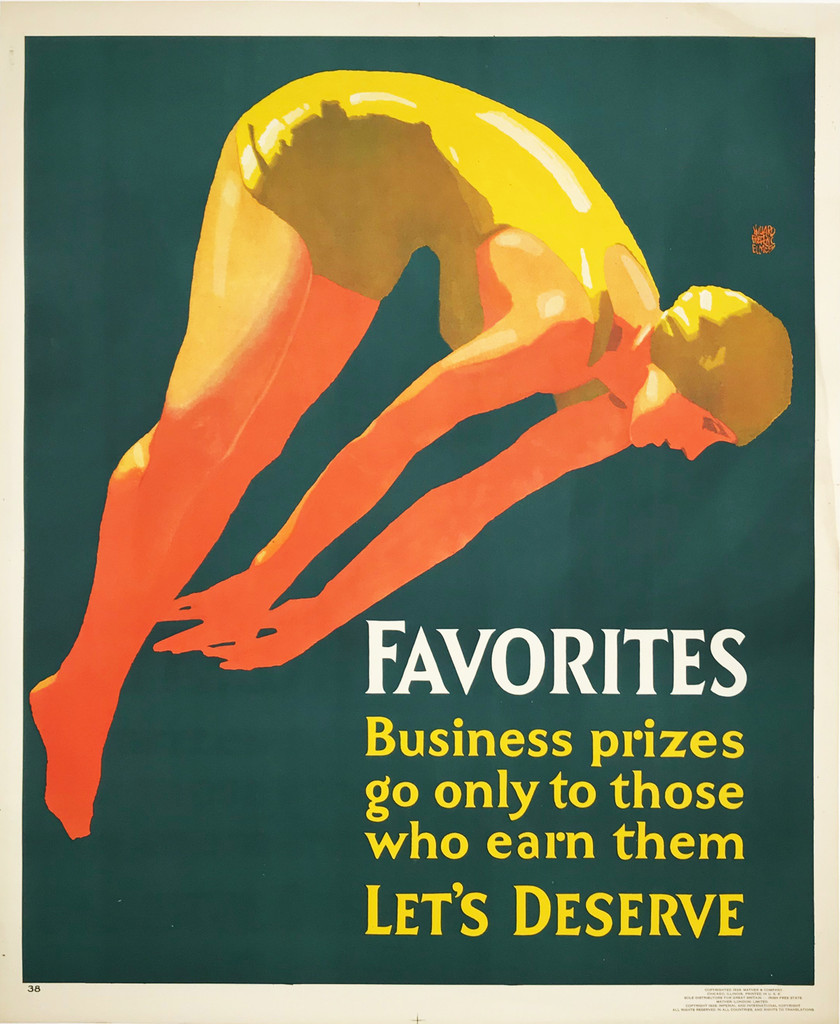 Favorites original vintage poster from Mather work incentive series American 1929.