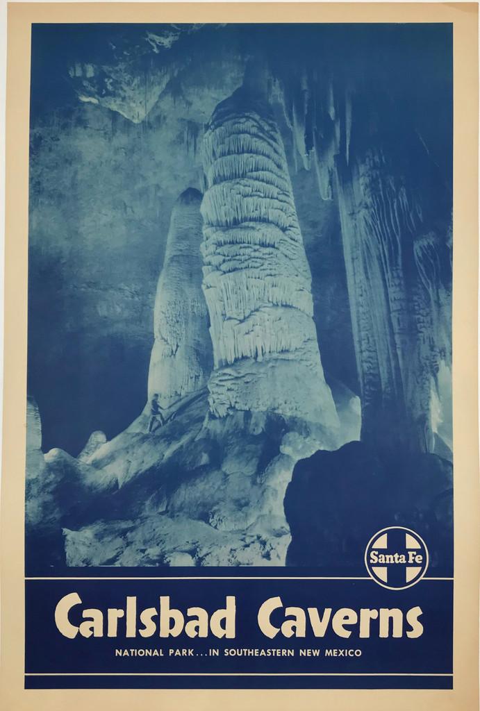 Santa Fe Railway Carlsbad Caverns National Park ... In Southeastern New Mexico original American travel poster.