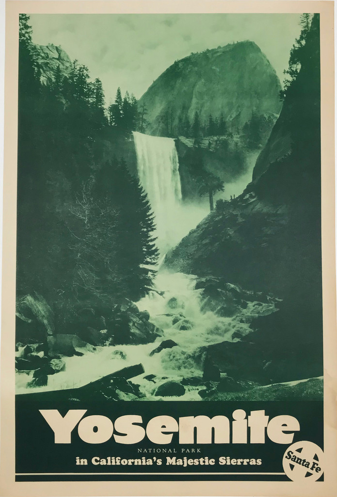 Santa Fe Railway Yosemite National Park in California's Majestic Sierras original American travel poster.