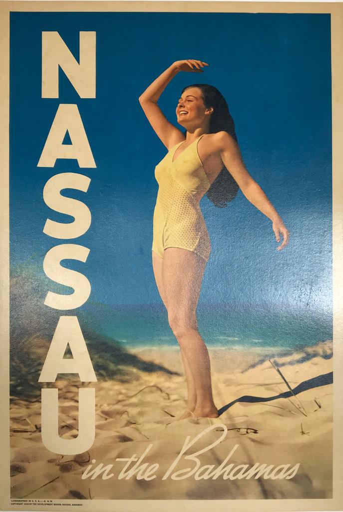 Nassau in the Bahamas original American travel poster