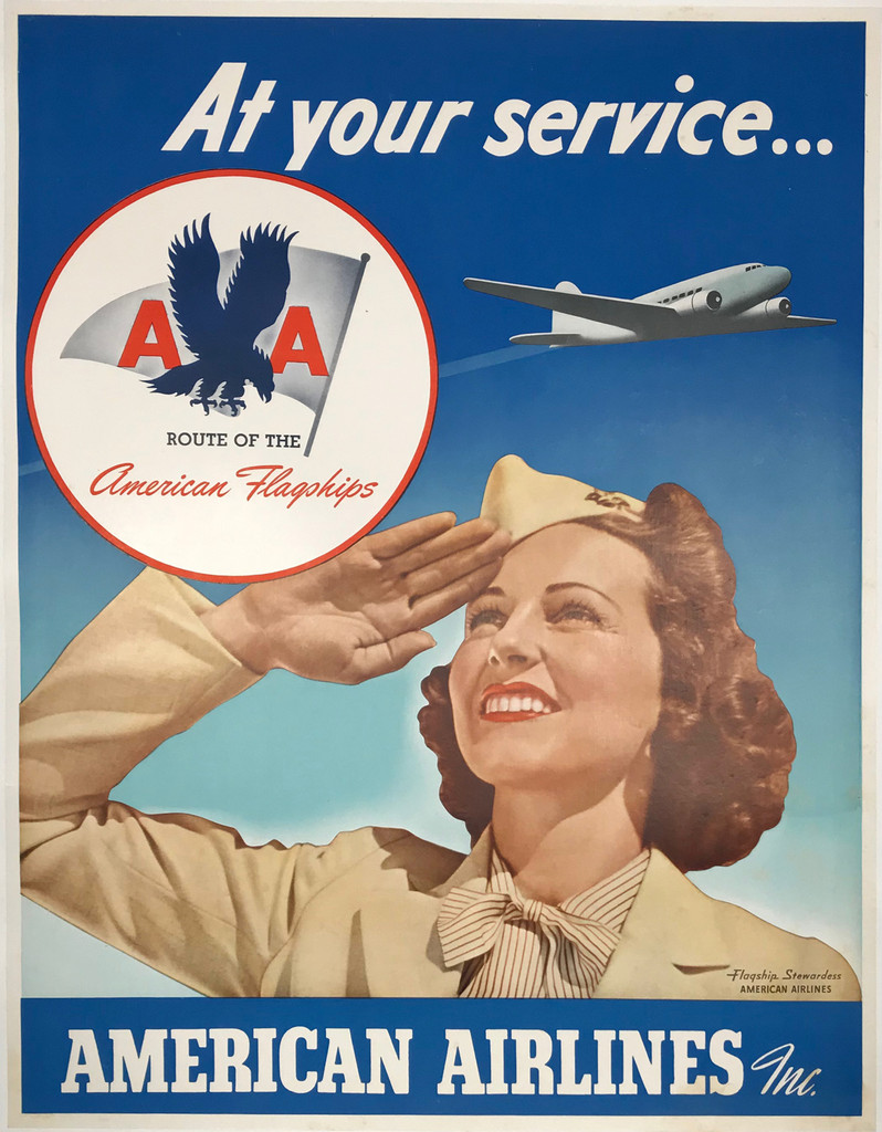 At Your Service... American Airlines Original Vintage Travel Advertisement Poster