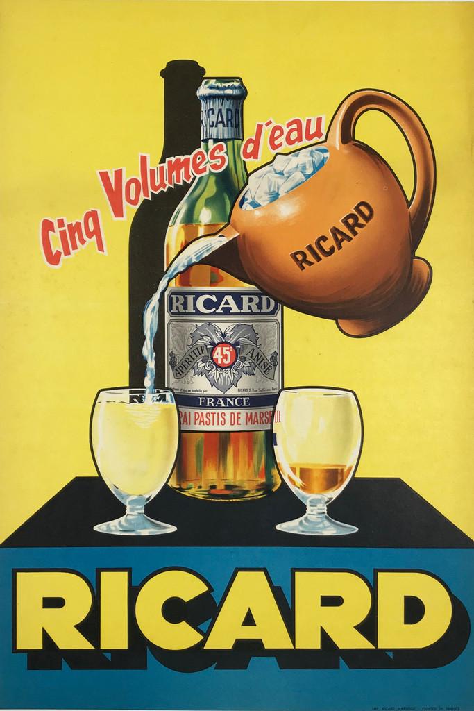 Ricard Aperitif Anise France Original 1950 Vintage Poster Linen Backed