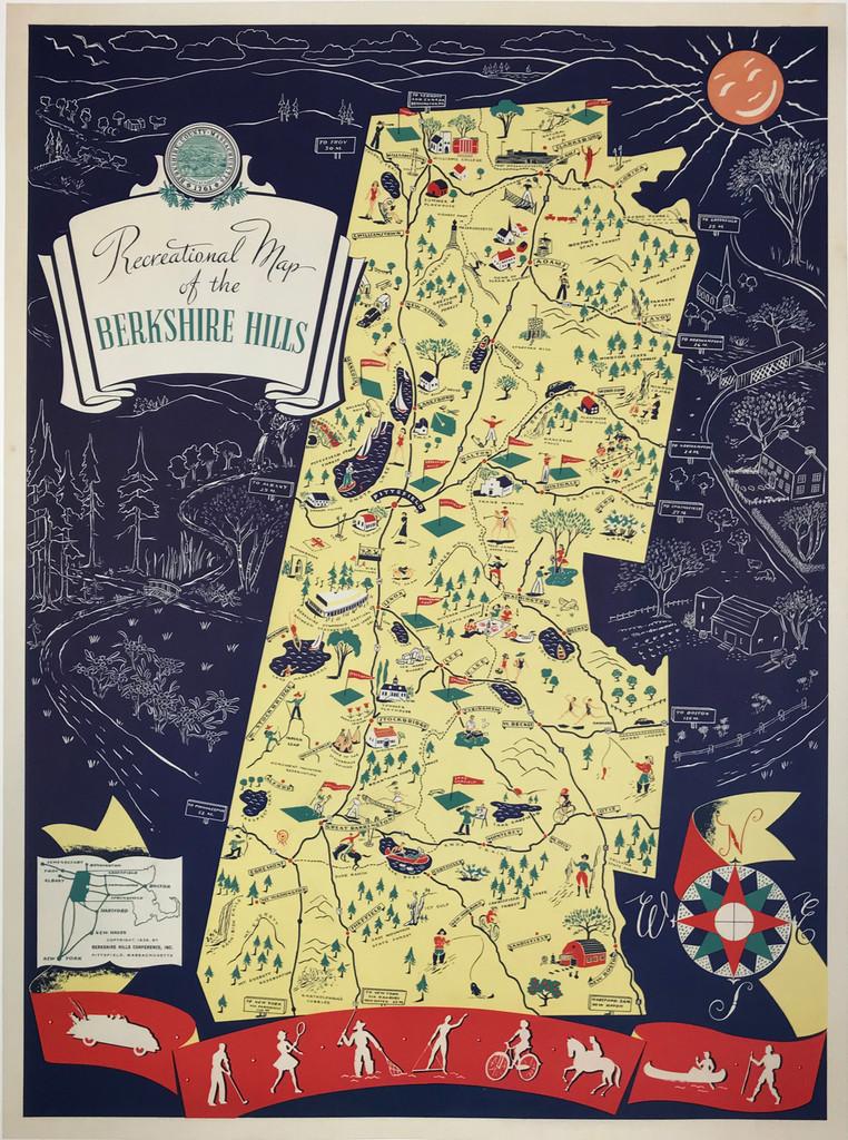 Recreation Map of the Berkshire Hills Original 1939 Vintage Travel Poster