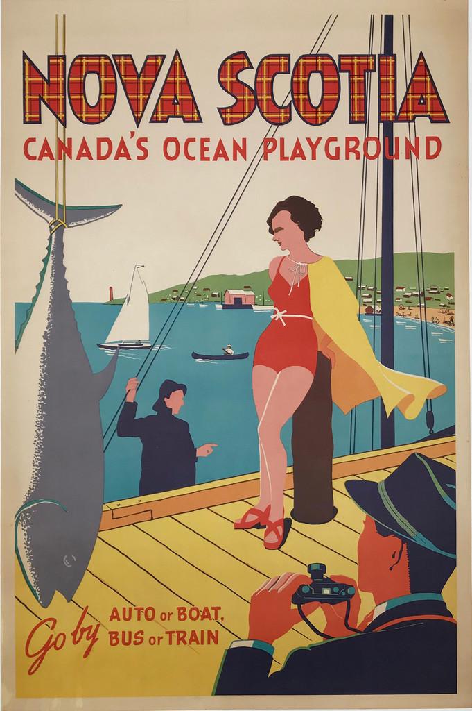 Nova Scotia Canadas Ocean Playground Go by Auto or Boat, Bus or Train original vintage travel poster.
