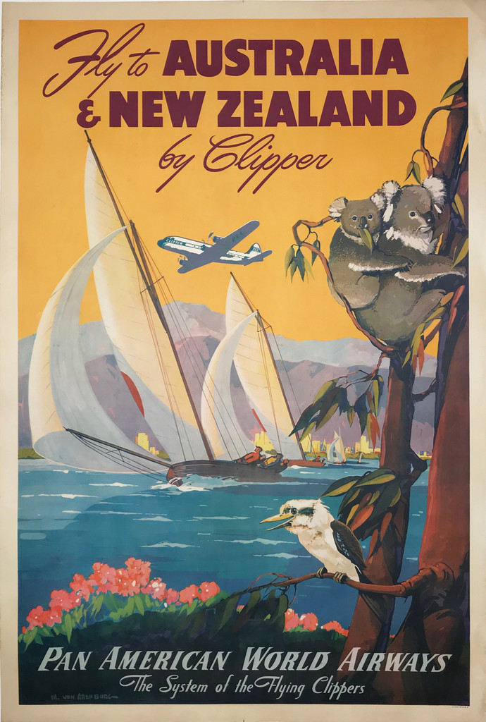Fly to Australia and New Zealand by Clipper Pan American World Airways Original 1947 Vintage Poster by Mark Von Arenburg  .