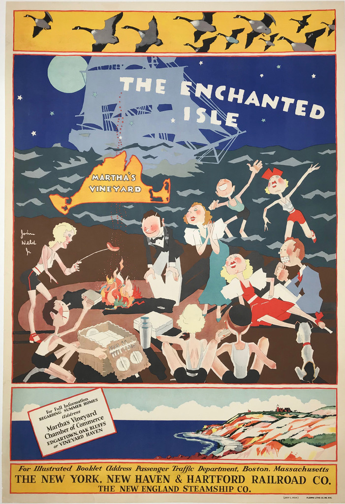 The Enchanted Isle Martha's Vineyard The New York, New Haven and Hartford Railroad Co. Original 1934 Vintage Poster by  John Held Jr.