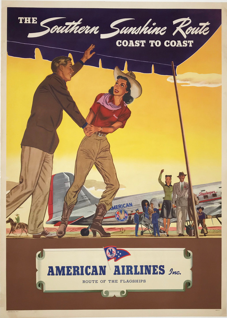 The Southern Sunshine Route Coast to Coast American Airlines Original 1940 Vintage Travel Advertisement Poster