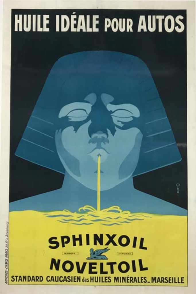 Sphinxoil Noveltoil Huile Ideale Pour Autos original vintage poster by Ming from 1922 France. French automotive advertisement for car oil.