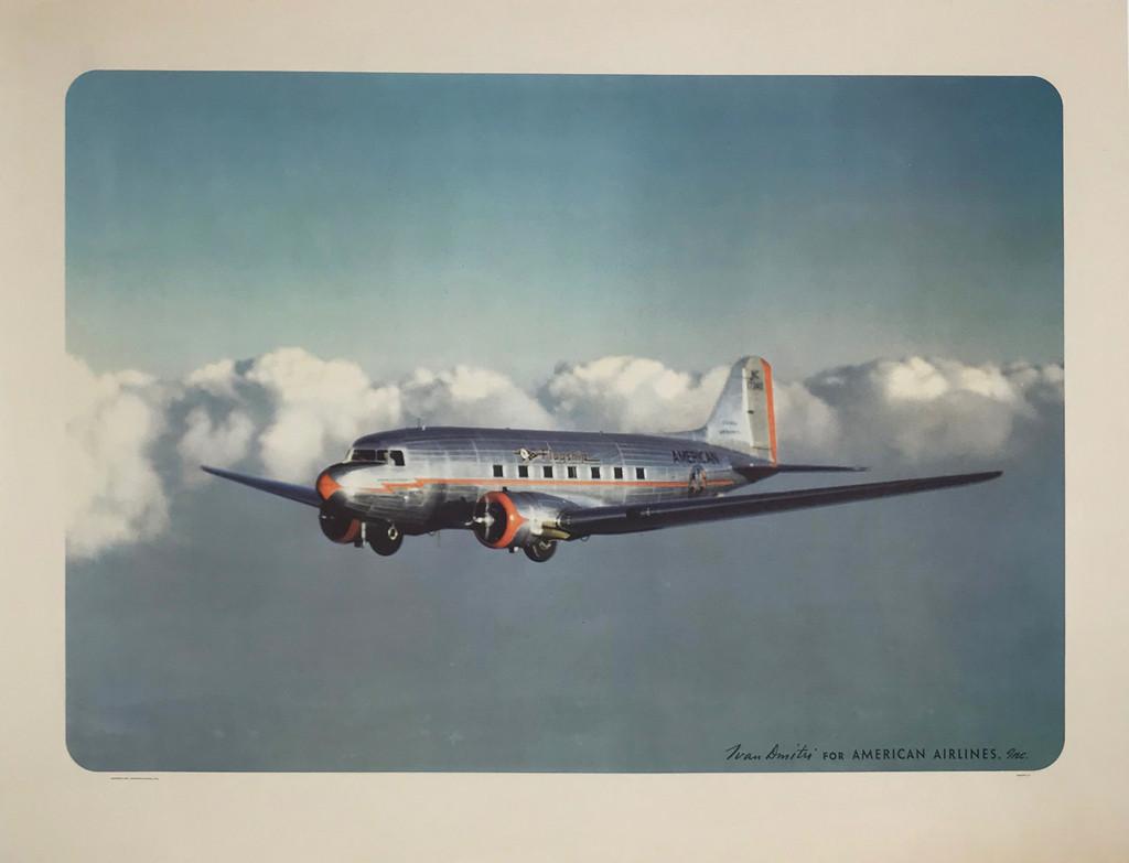 American Airlines Flagship Original 1941 Vintage Travel Advertisement Antique Poster by Ivan Dimitri.