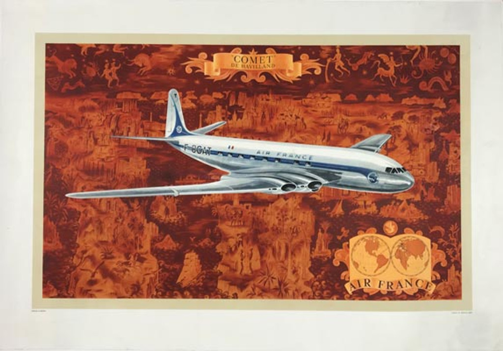 Air France Comet De Havilland Planisphere (map) with jet plane, original vintage travel poster by Lucien Boucher from 1953.