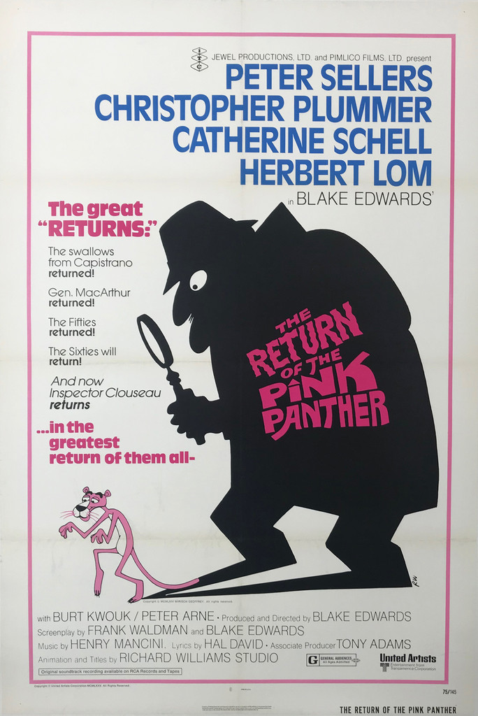 The Return of The Pink Panther Original 1975 American Theatrical Folded Movie Poster now on Linen Backing.