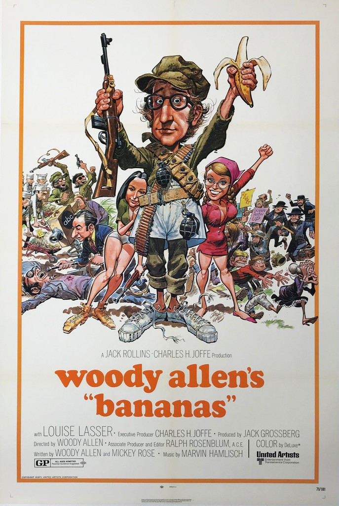 """Woody Allen """"Bananas"""" Original 1971 American Theatrical Used Movie Poster by Jack Davis Linen Backed."""