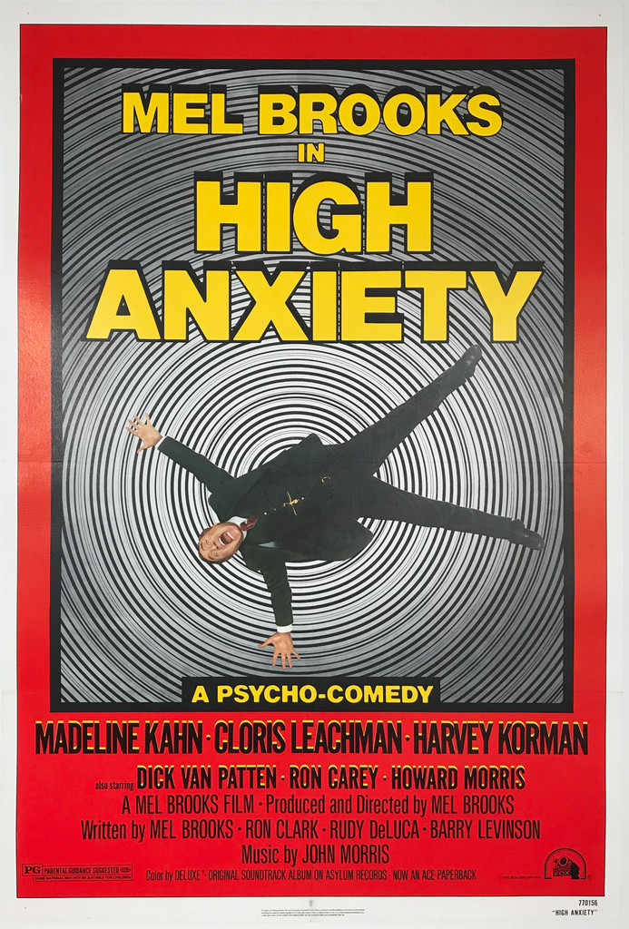 """Mel Brooks In High Anxiety Comedy Original 1978 Style """"A"""" American Movie Poster"""