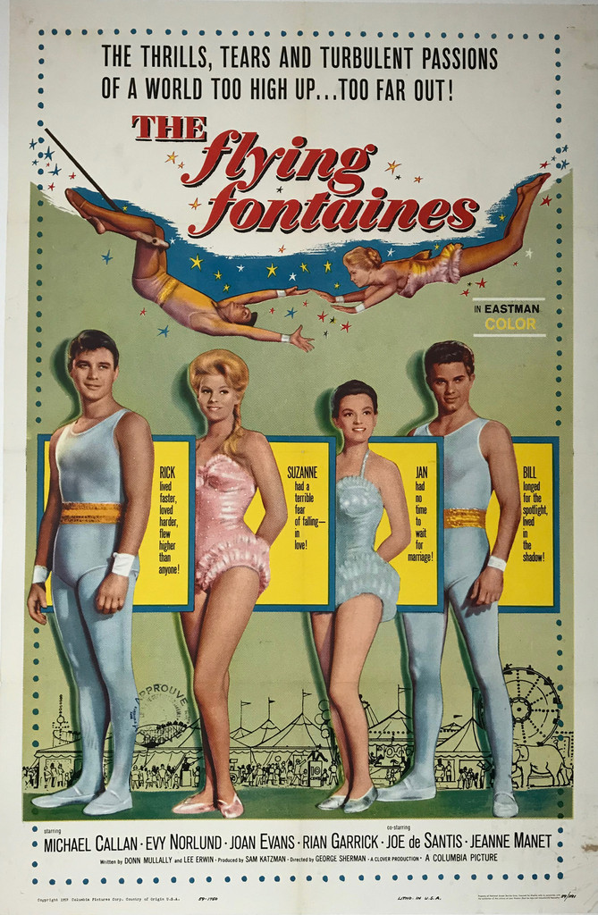 The Flying Fontaines Original 1959 American Theater Used Movie Poster