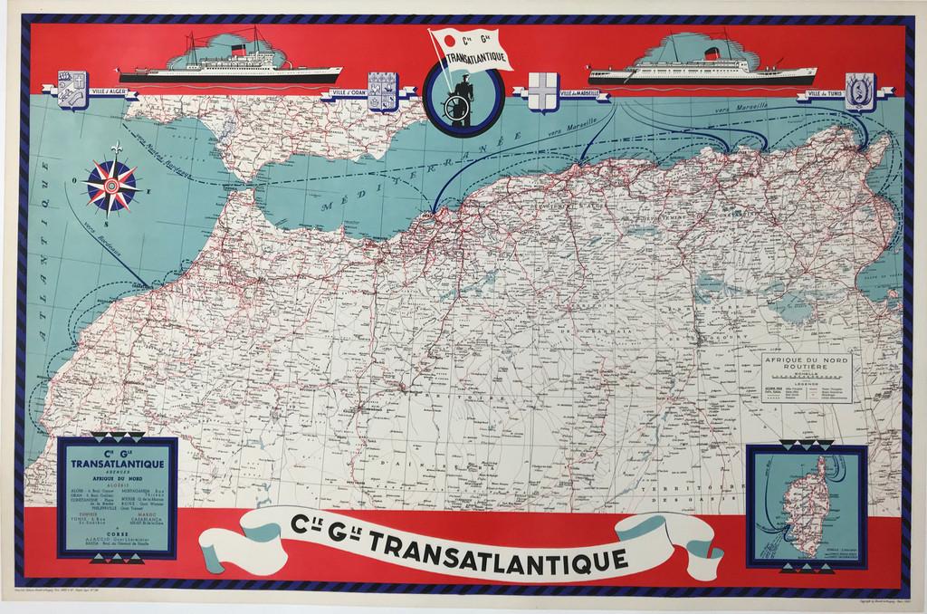 Cie Gle Transatlantique Afrique Du Nord Travel Map Original 1950 Vintage Poster