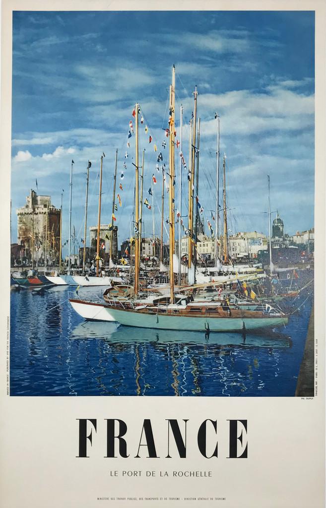 Le Port De La Rochelle France Original 1955 Vintage Travel Poster Printed by Draeger