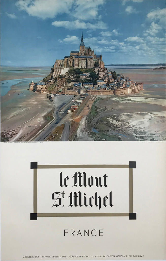 Le Mont St. Michel France Original 1955 Vintage Photo Poster